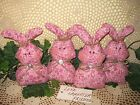 Set of 4 handmade Floral fabric rabbits bowl fillers Cottage Easter Home Decor