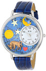 Whimsical Watches Taurus Royal Blue Leather and Silvertone Unisex Quartz Watch