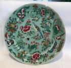 Antique Chinese Canton Porcelain Plate Green Celadon Hand Painted c 1850