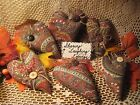 Set of 6 handmade fabric hearts ornaments bowl fillers Autumn Home Decor