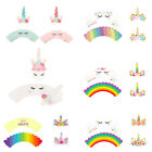 24Pcs Set Unicorn Cupcake Toppers Wrappers Double Sided Party Cake Decoration US