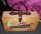 Vintage Retro Wooden Box Purse Made in Japan, Simon? Peacock Front, Major Bling!