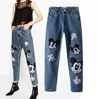 Vintage High Waist Women Jeans Cute Mickey Mouse Embroidery Fashion Pants Hot