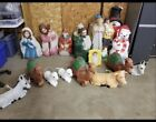 Vintage Blowmold LOT 19 Pc Empire Nativity Blowmold Set Christmas Decor w MORE