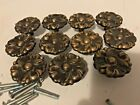 Lot of 11 Vintage French Provincial Drawer Knob Pulls Brass Floral