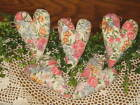 Set of 5 Floral fabric handmade hearts bowl fillers Country Cottage Home Decor