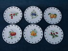Lot of 6 Hand Painted Milk Glass Plates With Wall Hangers