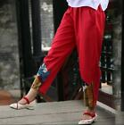 Fashion Ethnic Women Linen Cotton Vintage Printed Trousers Casual Wide Leg Pants