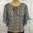 Robin K. Small Womens Ponco Black White Sheer Keyhols Butterfly Sleeves Dolman