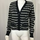 Tommy Hilfiger Women's size large navy gray White houndstooth cardigan sweatwr