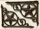 SET OF 4 WESTERN STAR SHELF BRACKET/BRACE, Antique Rustic Brown patina cast iron