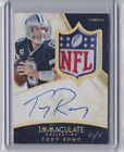 2014 IMMACULATE TONY ROMO AUTO AUTOGRAPH GAME USED NFL SHIELD LOGO PATCH #1 1