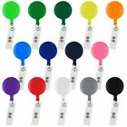 10x Retractable ID Card Holder Reel Badge Key Tag Clip Black White Pink Clear US