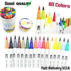 Dual Tip Brush Pens 60X Colors Watercolor Art Markers Pens Set New High Quality