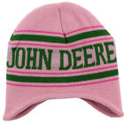 John Deere Tractor Green & Pink Stripe Knit Beanie Hat O/S Youth FGC147PJ