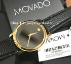 BOX SET MOVADO Museum 2100005 Gold Classic Black Dial Leather Wrist Men's Watch