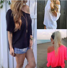Cocktail Shirt Off Shoulder Short Sleeve Casual Blouse Tops T-Shit Fashion Women
