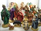 Atlantic Mold Vintage Hand Made Ceramic 13 Piece Nativity Set Bejeweled
