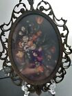 Vintage Picture Frame of Flowers, Made in Italy, 7 x 10 inches