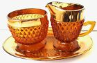 Vtg Indiana Glass Amber Gold Band  Diamond Point Creamer Sugar Underplate Tray