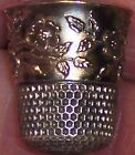 BEAUTIFUL ANTIQUE STERLING GOLD SEWING THIMBLE KETCHUM McDOUGAL FLOWERS FAB SZ 7