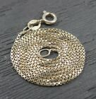 Vintage Sterling Silver Thin Box Chain Link Necklace 18 inches  Italy