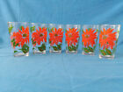 Vintage Hazel Atlas Poinsettia Tumblers Set of 6 Drinking Glasses
