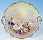 Antique AK Limoges Factory Hand Painted Roses Cake Tray Serving Plate Porcelain