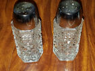 WEXFORD GLASS SALT AND PEPPER SHAKERS  BEAUTIFUL DIAMOND PATTERN  4 1/8