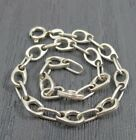 Vintage Sterling Silver Unique Oval Chain Link Charm Bracelet 75 inches  Italy