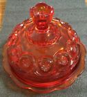 L G Wright  or  L E Smith Moon And Stars Ruby Red  Amberina Round Butter Dish