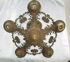 Antique electric 5 light chandelier hanging indoor fixture floral pattern design