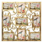 Bronze Floral Wall Hanging Collage Photo Frames Picture Display Decor Gift