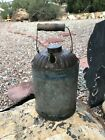Vtg Galvanized Metal Oil, Gas, Kerosene Can -Wood Handle Primitive-SOLD AS SHOWN