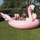 XXL Inflatable Pink Flamingo Sprayer Pool 6 Person Island Float Lake Lounge Toy