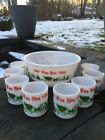 VTG 8mug HAZEL ATLAS Tom Jerry MILK GLASS Eggnog Punch Bowl Set Christmas NO