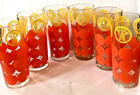 Vintag MCM Glasses 6 Bright Orange Dots Yellow Pinapple Rooster Thistle Wheat