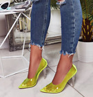 Cape robbin Nuclear Kim Lime Neon Yellow Transparent Clear Pointy Stiletto Pump