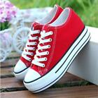 Womens Canvas Wedge Heel Platform Lace Up Slip On Casual Sport Sneakers Shoe New