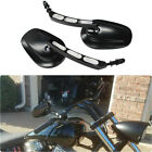 GLOSS BLACK Motorcycle Edge Cut Side Mirror For Harley Touring Cruiser Sportster