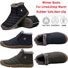 Mens Warm Snow Boots High Top Slip On Fur Lined Breathe Sneaker Outdoor Shoes