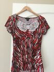 Susan Lawrence Red Pink White Butterfly Shirt Petite Small Short Sleeves 66199