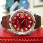 Mens ROLEX Oyster Perpetual Date 34mm Red Dial Diamond White Gold Steel Watch