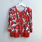 Peter Nygard Sz S/M Red Floral Print Cotton Bl Marching Top Swwater Knit Twinset