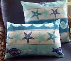 """Pair Pillow Covers Starfish Shells turquoise Blue 18"""" Lumbar tropical outdoor"""