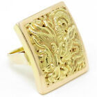 NYJEWEL Brand New 18K Yellow Gold China Emperor Style Carved Dragon Signet Ring