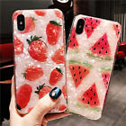 For Iphone X 7 8 6S Plus Sweet Fruit Pink Watermelon Strawberry Soft Case Cover