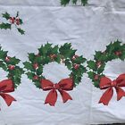 Vintage Christmas Tablecloth Wreaths 104 X 59 Cotton Holly Red Ribbon