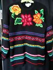 VINTAGE 80's OUTLANDER BLACK EMBROIDERED LONG SLEEVE SWEAYER/TUNIC SIZE S NWOT