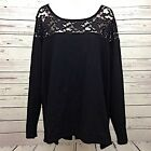 Torrid Womens Plus Sz 3X Black Floral Lace Pullover Knit Sweaater Long Sleeves